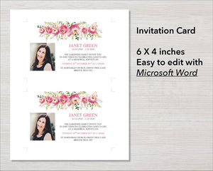Pink flowers funeral invitation