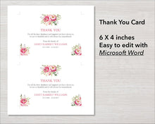 Pink flowers funeral thank you card
