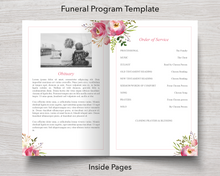 4 Page Floral Burst Funeral Program inside pages
