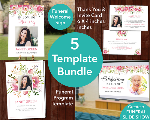 4 Page Floral Burst Funeral Program Template + Sign, Slide Show, Thank You & Invite