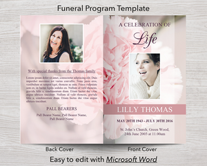 4 Page Pink Carnations Funeral Program Template