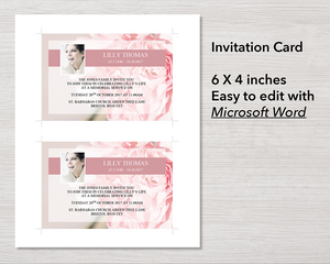 Pink Carnations Funeral Invitation Card
