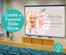 Create a funeral slide show with pink flowers