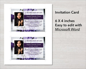 Purple funeral invite