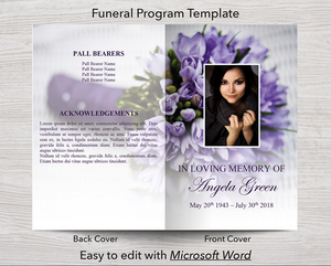 4 Page Purple Bouquet Program