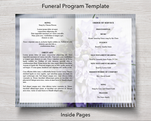 4 Page Purple Bouquet Funeral Program inside