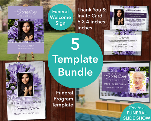 4 Page Purple Bouquet Program + Sign, Slide Show, Thank You & Invite