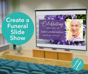 Funeral slideshow with Purple Bouquet design