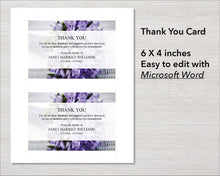 Purple funeral thank you card