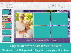 Memorial slideshow presentation with purple flowers