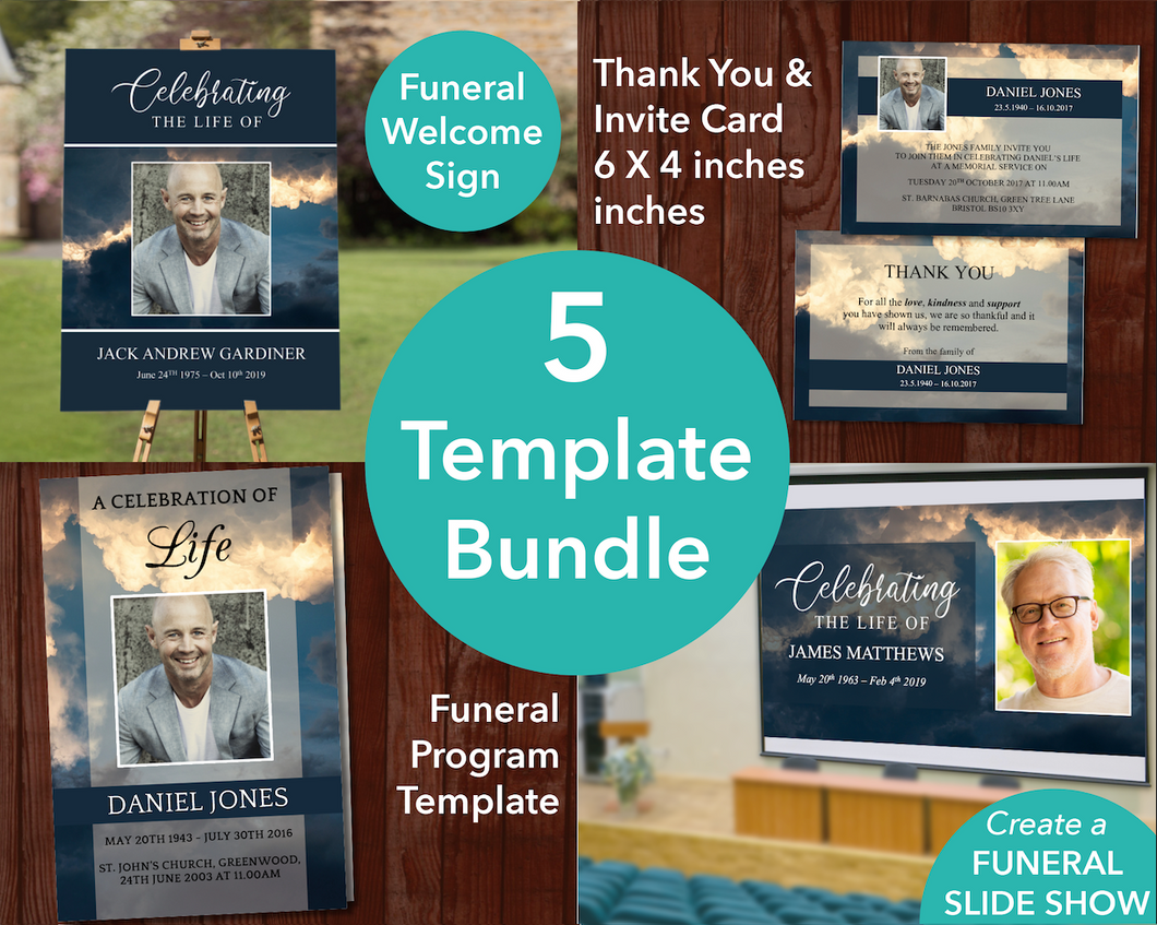 4 Page Sky Funeral Program Template, Sign, Slideshow, Thank you Card and Invite