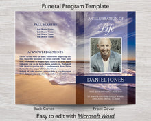 4 Page Waves Funeral Program Template