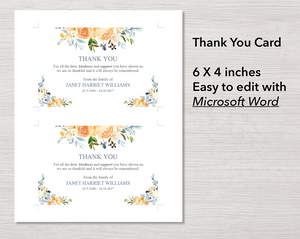 4 Page Yellow Rose Program + Sign, Slide Show, Thank You & Invite
