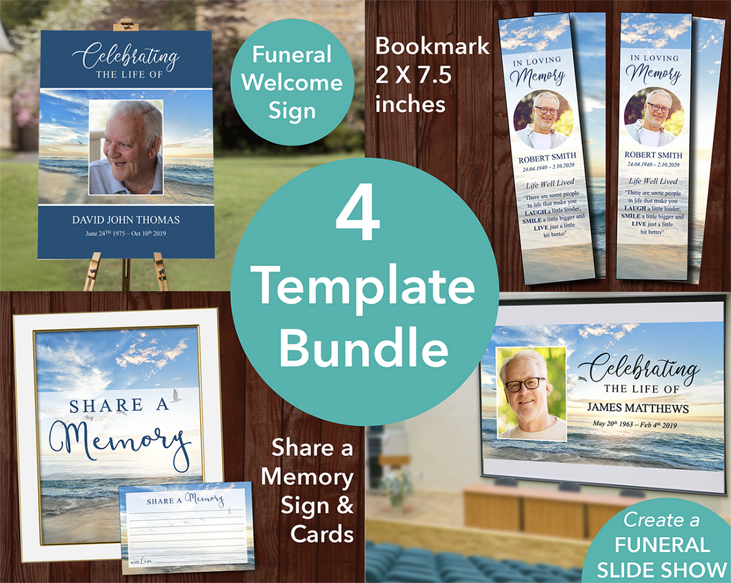 Beach Funeral Sign + Slideshow, Bookmark, Share a Memory Sign & Cards