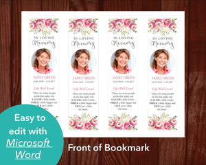 Funeral bookmark template with pink floral design