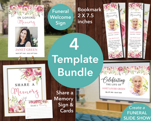 Funeral Template bundle with matching sign, slideshow, share a memory sign and cards and bookmark
