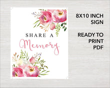 Floral Burst Funeral Welcome Sign + Slide Show, Bookmark, Share a Memory Sign & Cards