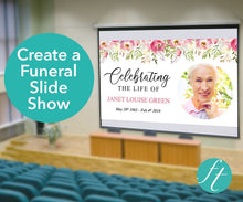 Funeral slideshow template with pink flowers, ready to download, edit and print