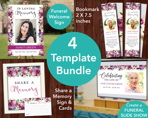 Floral Display Funeral Welcome Sign + Slide Show, Bookmark, Share a Memory Sign & Cards