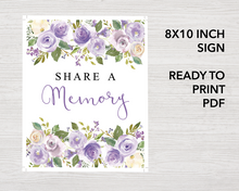 8x10 inch lilac Share a memory sign