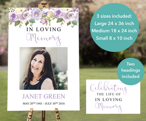 Lilac funeral welcome sign editable in Microsoft PowerPoint