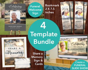 Mountain Funeral Welcome Sign + Slide Show, Bookmark, Share a Memory Sign & Cards