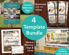 Mountain Top Funeral Welcome Sign + Slide Show, Bookmark, Share a Memory Sign & Cards