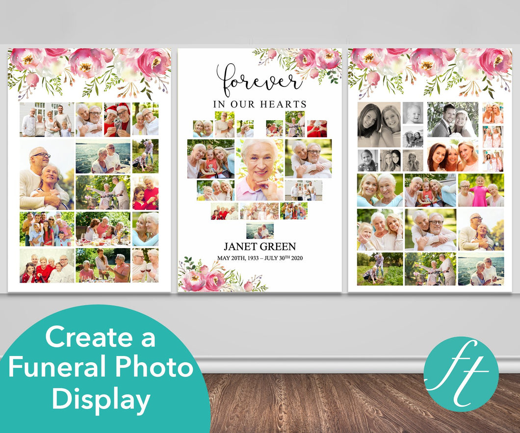 Pink Floral Heart Funeral Photo Display
