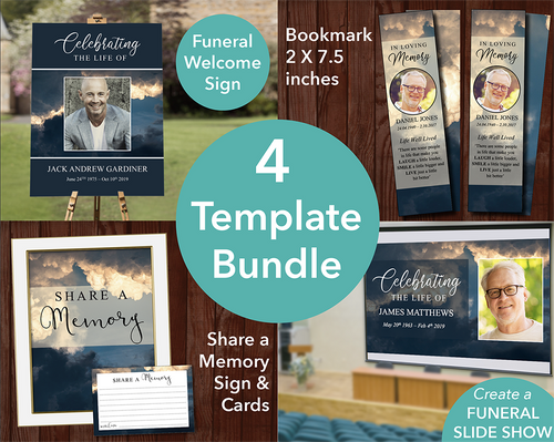 Funeral template bundle with matching sign, slideshow, bookmark and share a memory sign & cards