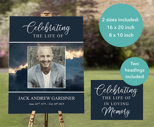 Funeral welcome sign for men, editable with Microsoft PowerPoint