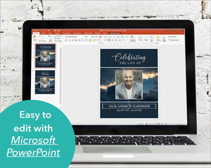 Edit and make your own funeral poster with with editable Microsoft Powerpoint sign