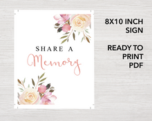 8x10 inch Share a memory sign with floral design