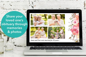 share your loved one's obituary through memories and photos using this funeral slideshow template