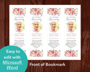 Funeral bookmark template with floral design