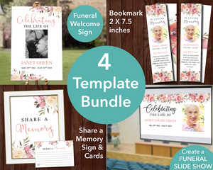 Spring Flowers Funeral Welcome Sign + Slide Show, Bookmark, Share a Memory Sign & Cards