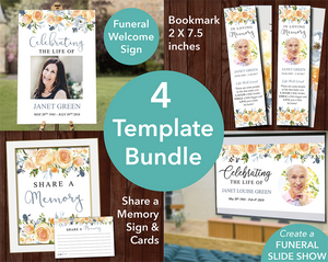 Funeral template bundle with slideshow, sign, share a memory sign & cards and funeral bookmark