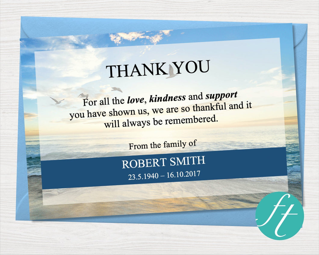 Funeral Thank you card with beach design