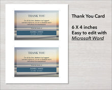 Beach sunset funeral thank you card template