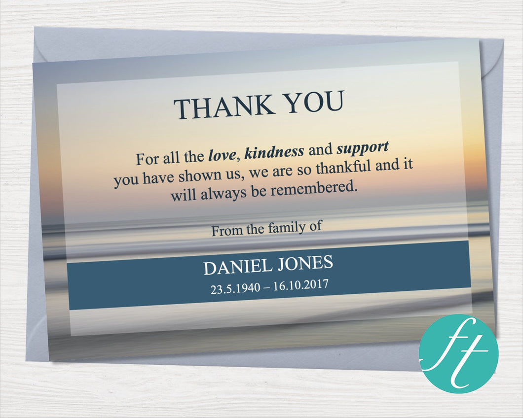 Beach sunset funeral thank you card