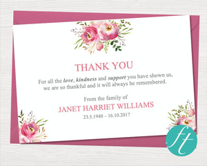 Funeral thank you card with watercolor flowers