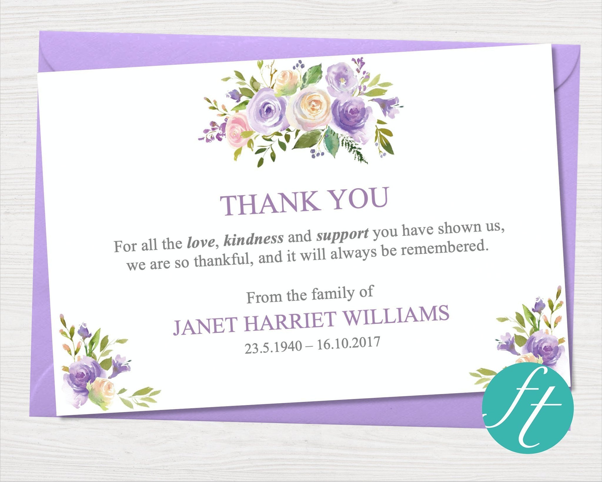 funeral thank you card  lilac bouquet  funeral templates