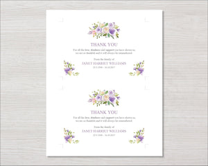 Editable funeral thank you card with lilac flowers