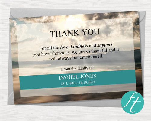 Funeral thank you card with mountain design