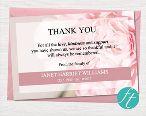 Funeral thank you card with pink flowers