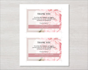 Memorial thank you card with pink carnations