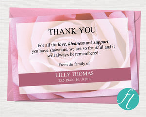 Pink Rose Funeral Thank You Card