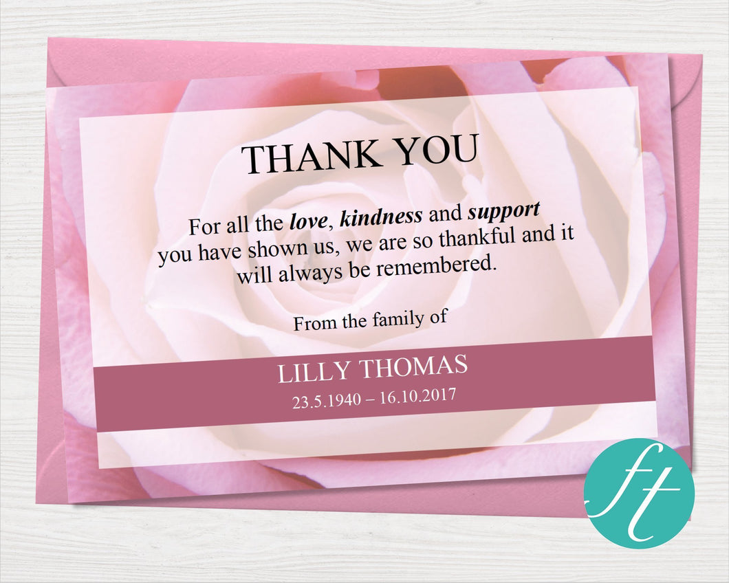 Funeral thank you card with pink roses