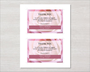 Memorial thank you card with pink roses