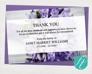 Funeral thank you card with purple flowers