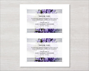 Memorial thank you card with purple flowers
